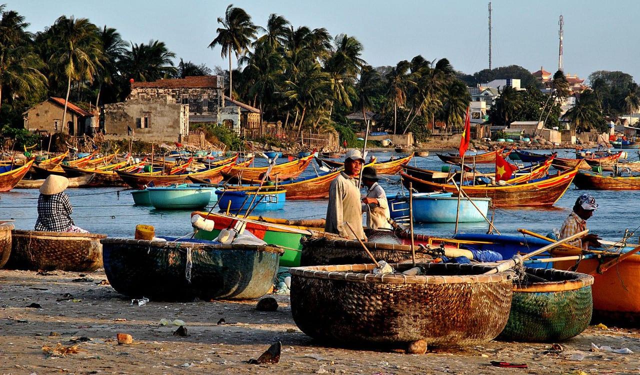 Mui Ne Port Fishermen Vietnam