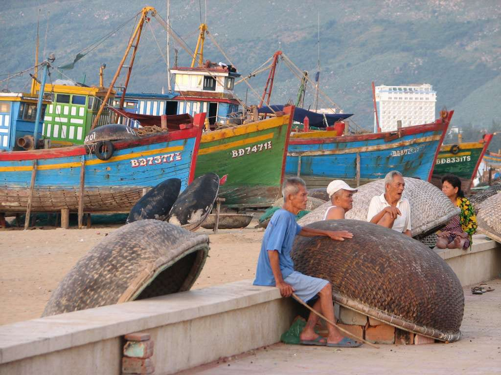 Quy Nhon Vietnam Fishermen Boats Beach