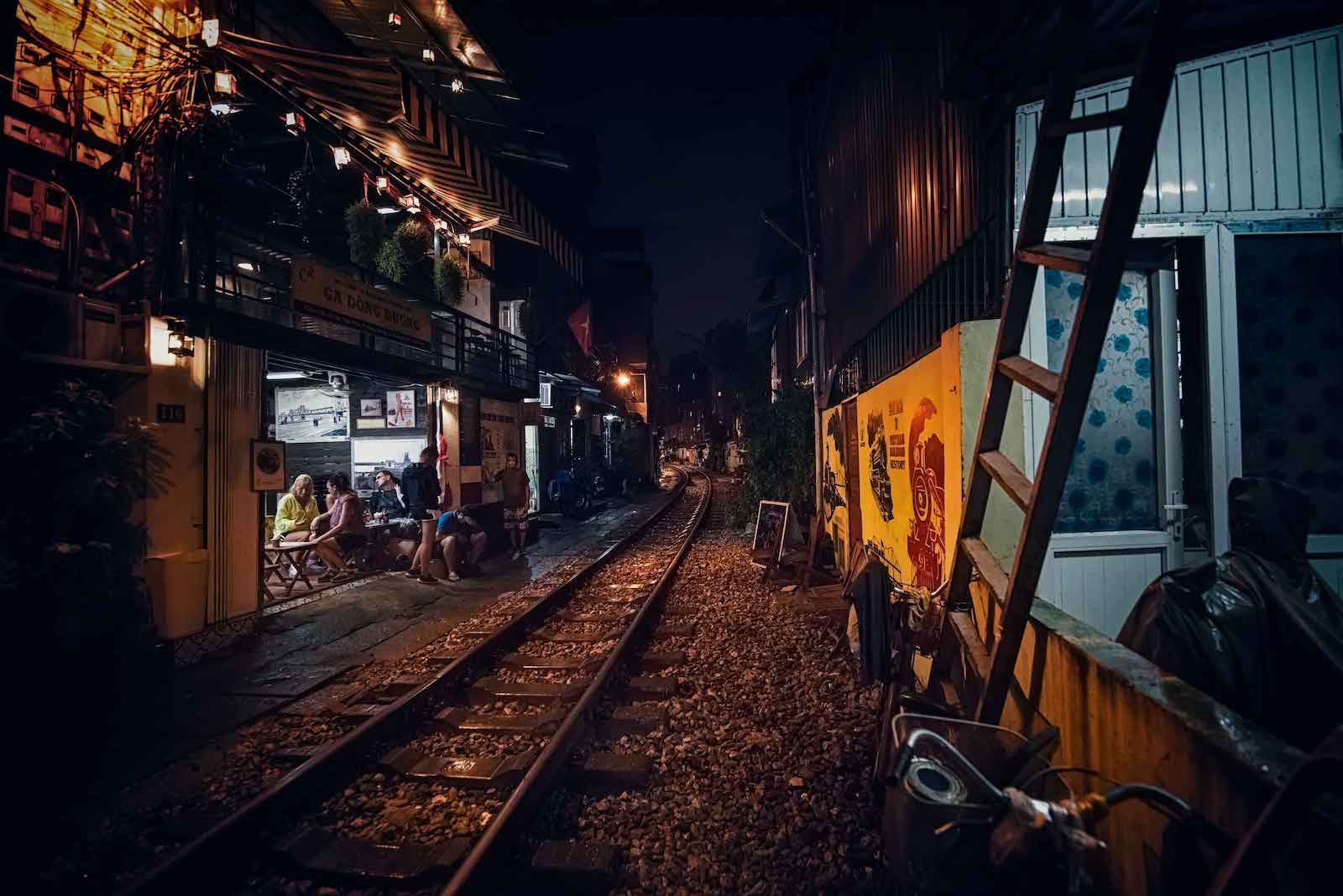 Hanoi Vietnam April Train Track Street Night