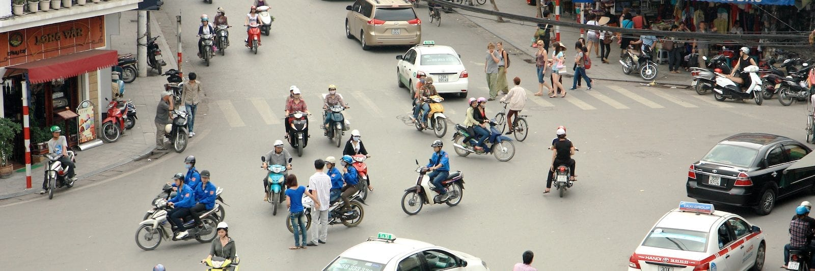 Hanoi Vietnam April Traffic Motorbikes