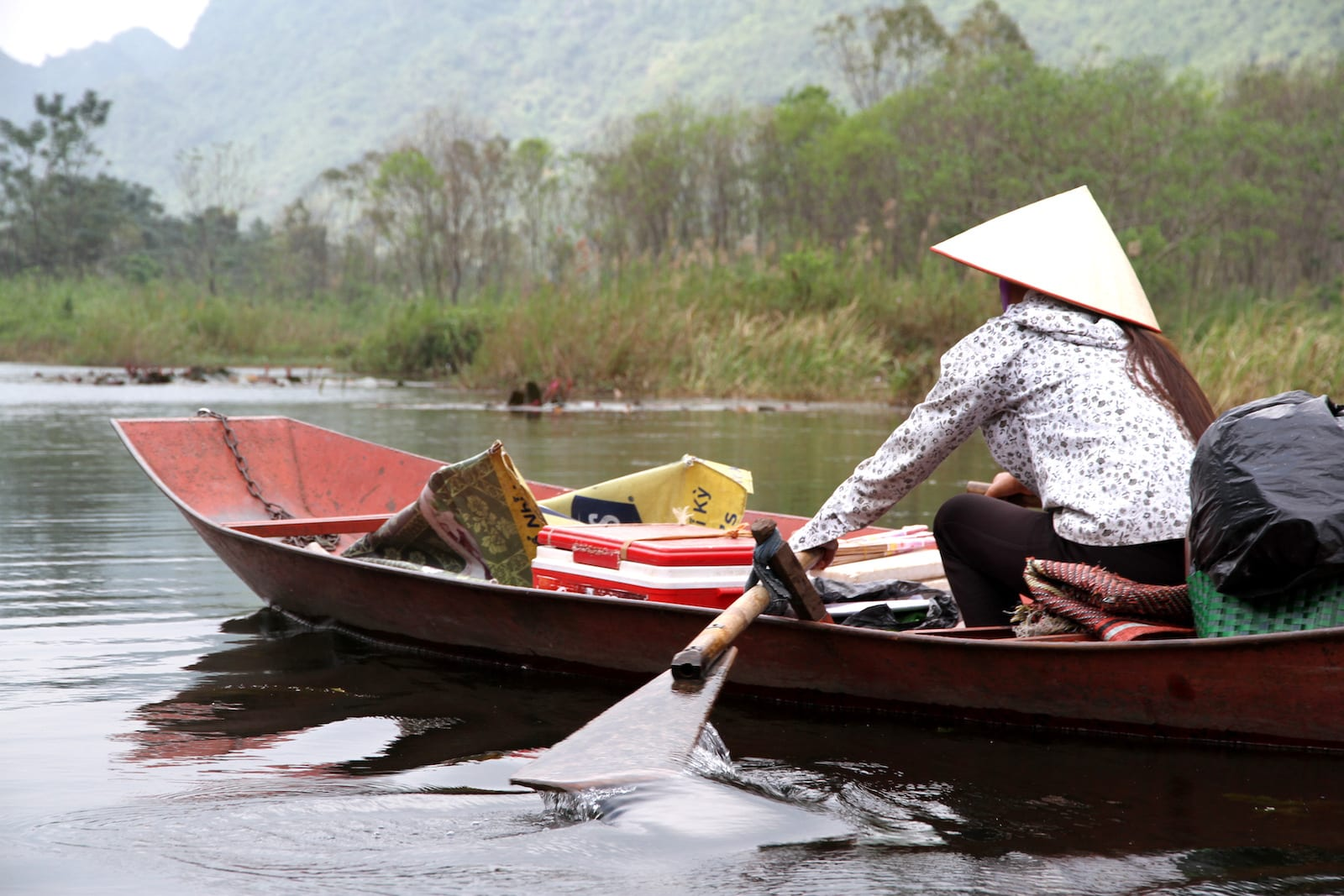 Perfume Pagoda Vietnam Woman Rowing Boat