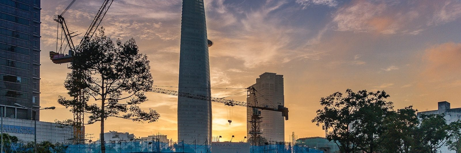 Sunrising behind the Bitexco Financial Tower, Saigon