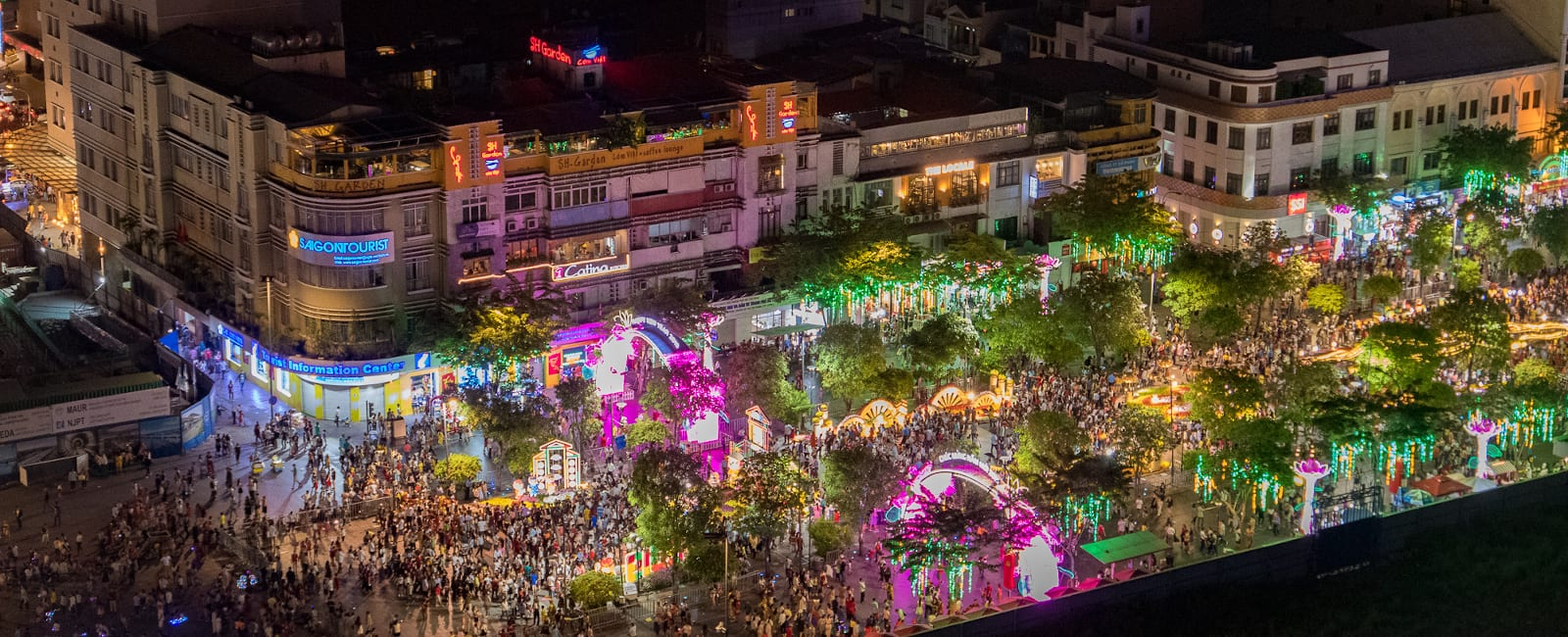 Ho Chi Minh City. Lunar New Year celebrations as seen from the roof top bar