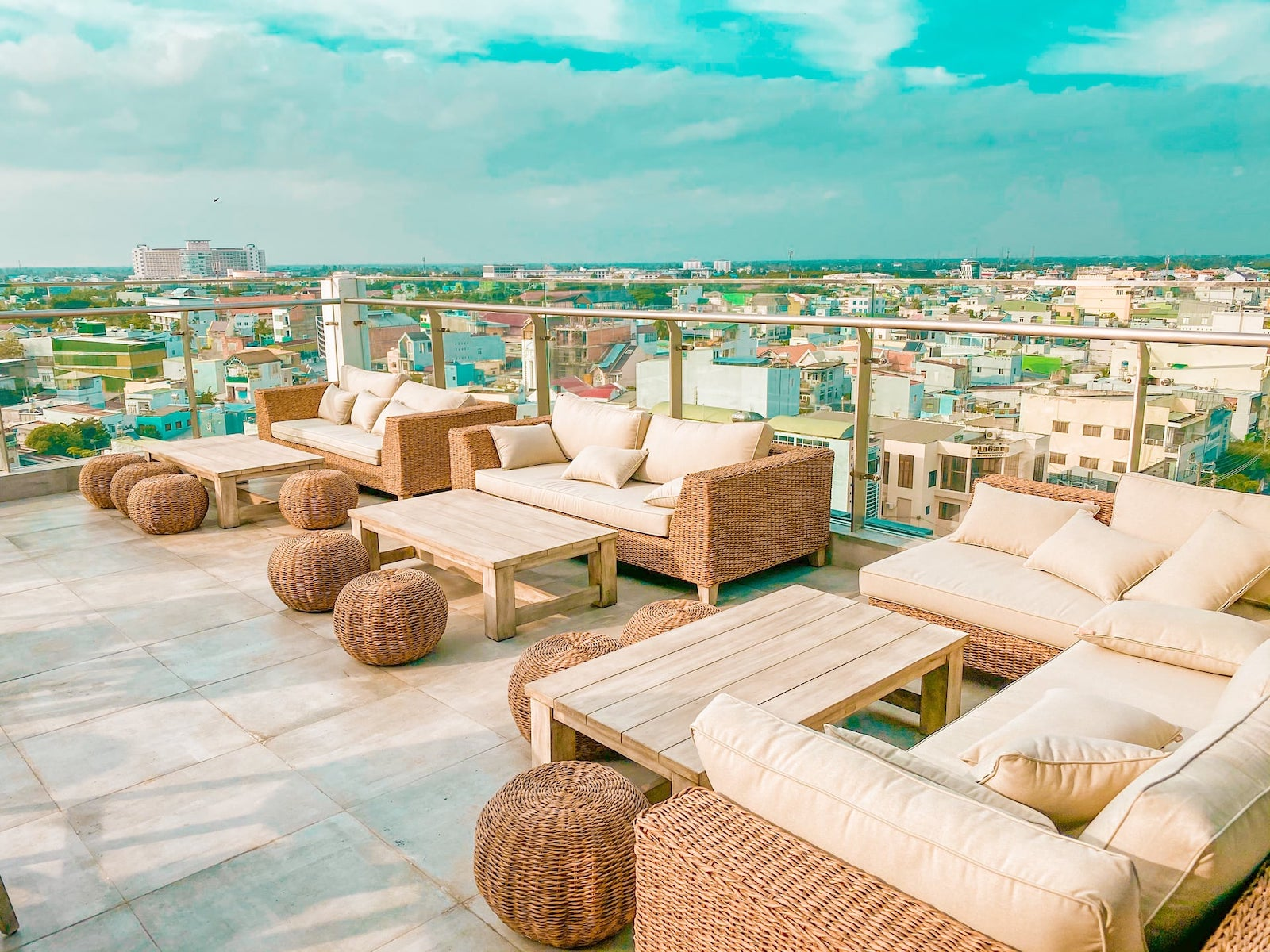 Image of the rooftop views from the Chau Khuong Hotel in Long Xuyen