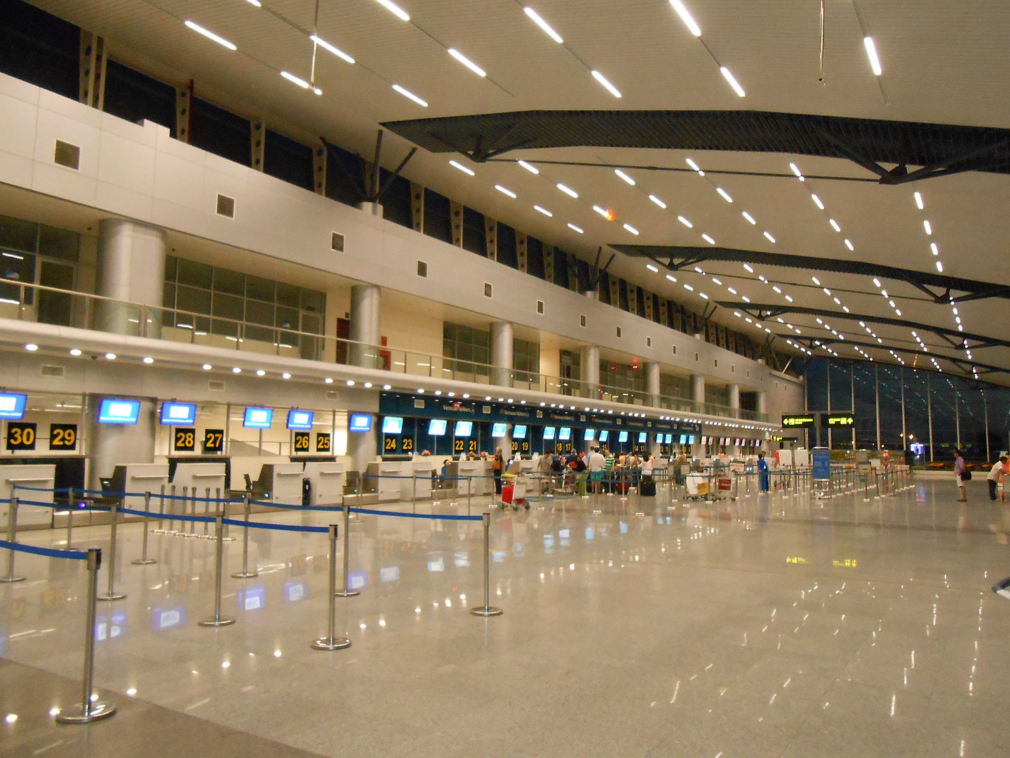 Image of the ticket counter at Da Nang International Airport in Vietnam