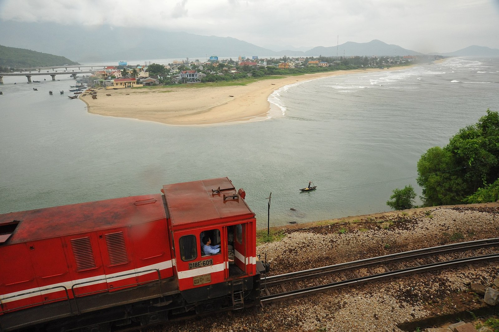Image of the Reunification Express at the Lang Co Strait in Vietnam