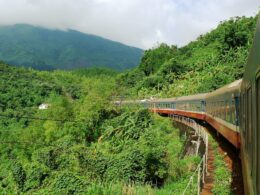 Image of the Reunification Express crossing the Hai Van Pass in Vietnam