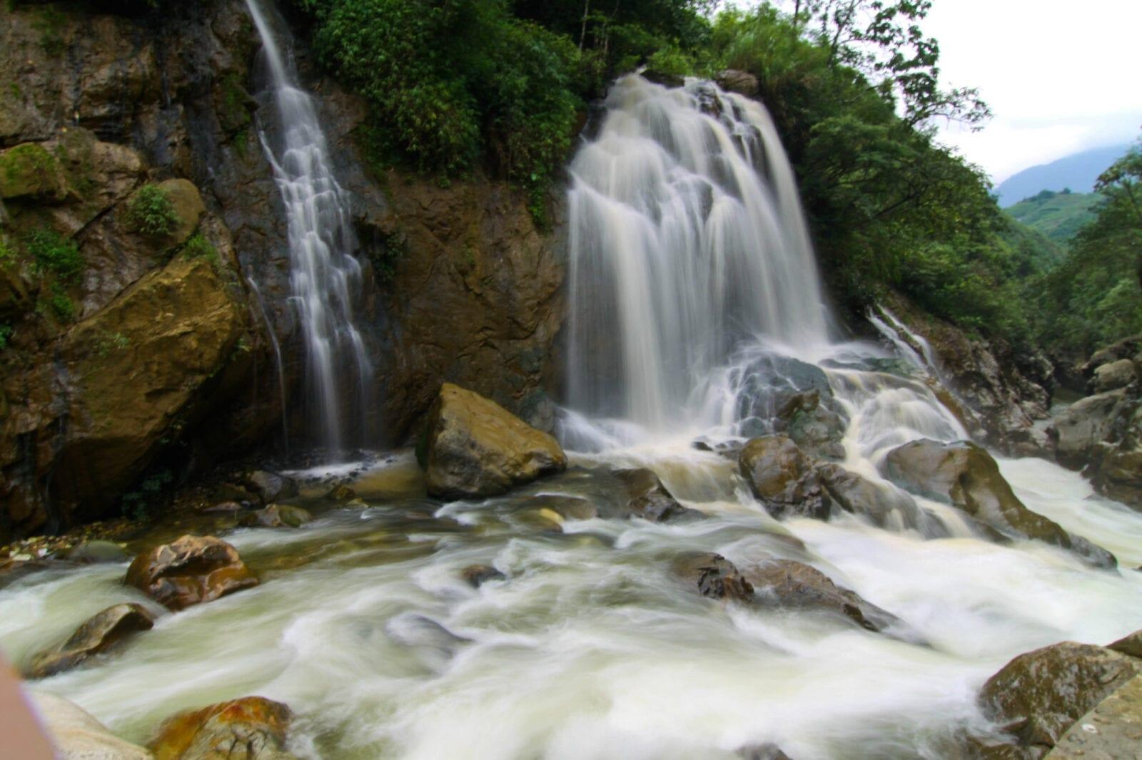 Image of a waterfall near cat cat village, sapa, vietnam