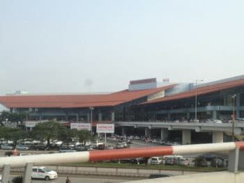 Image of the outside of the Noi Bai International Airport in Vietnam