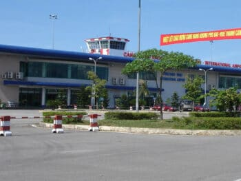 Image of the exterior of Phu Bai International Airport in Vietnam