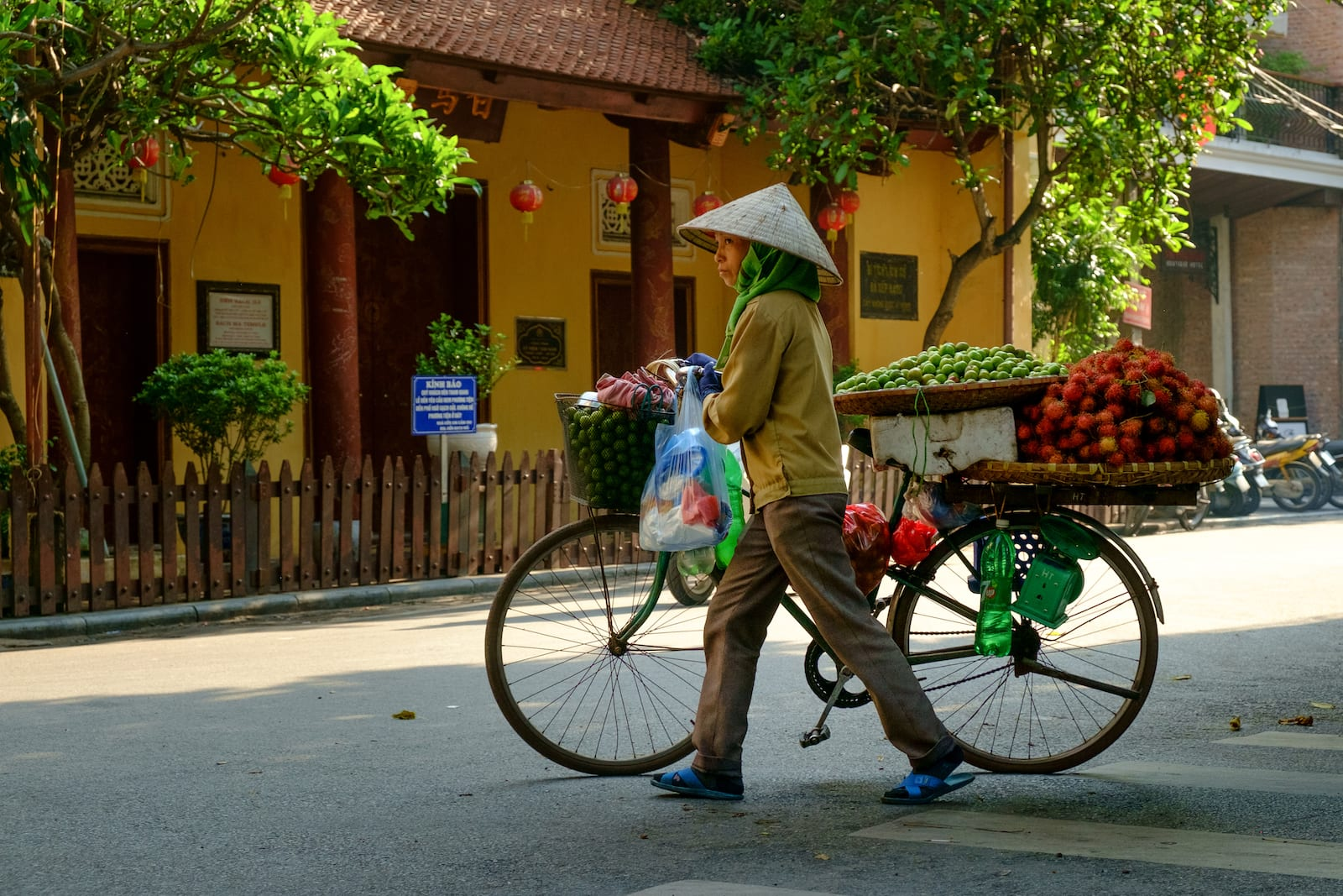 Fruit vendor making her rounds in July, Hanoi, Vietnam