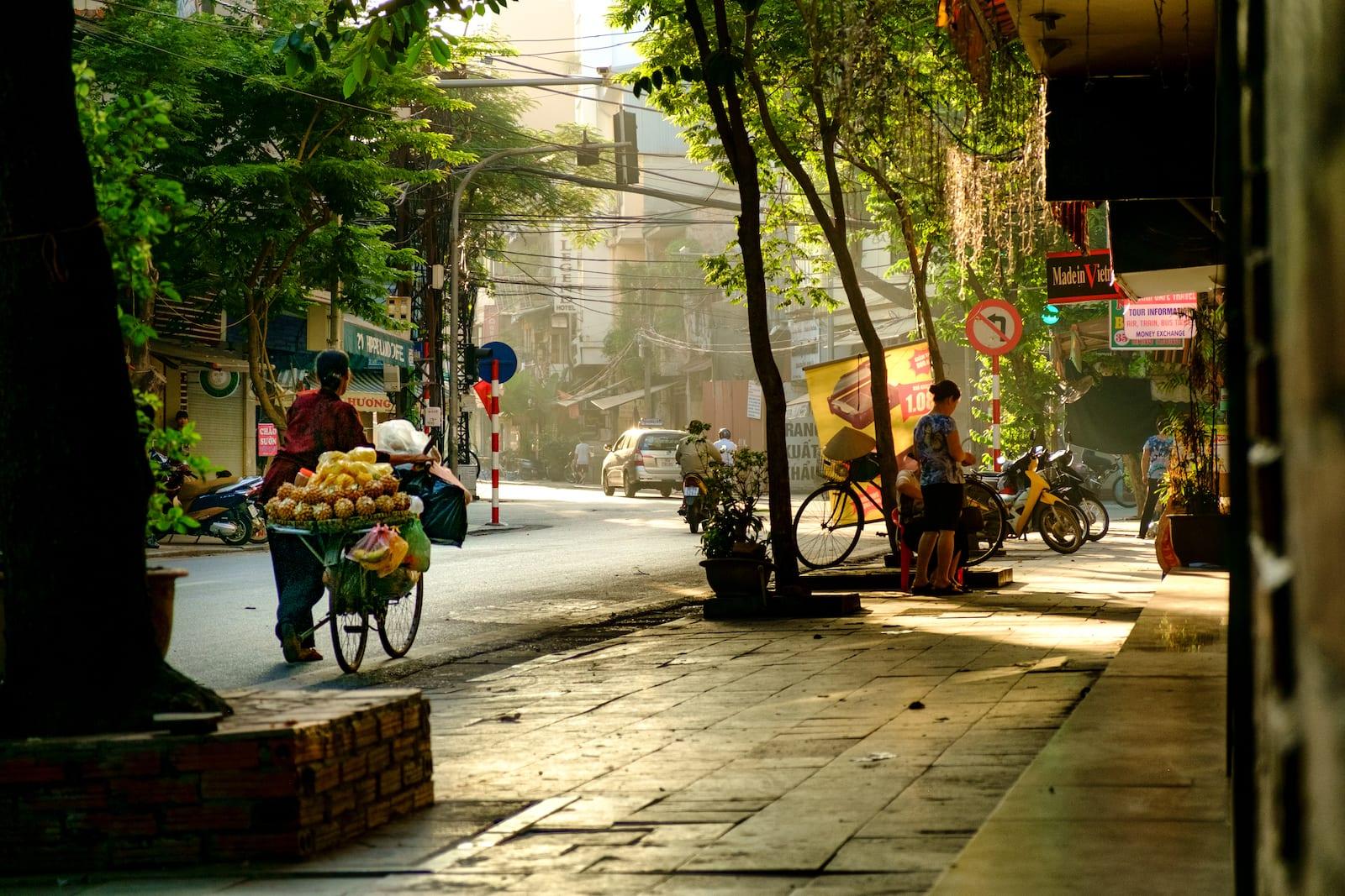 Fruit vendor making her rounds in July, Hanoi, Vietnam