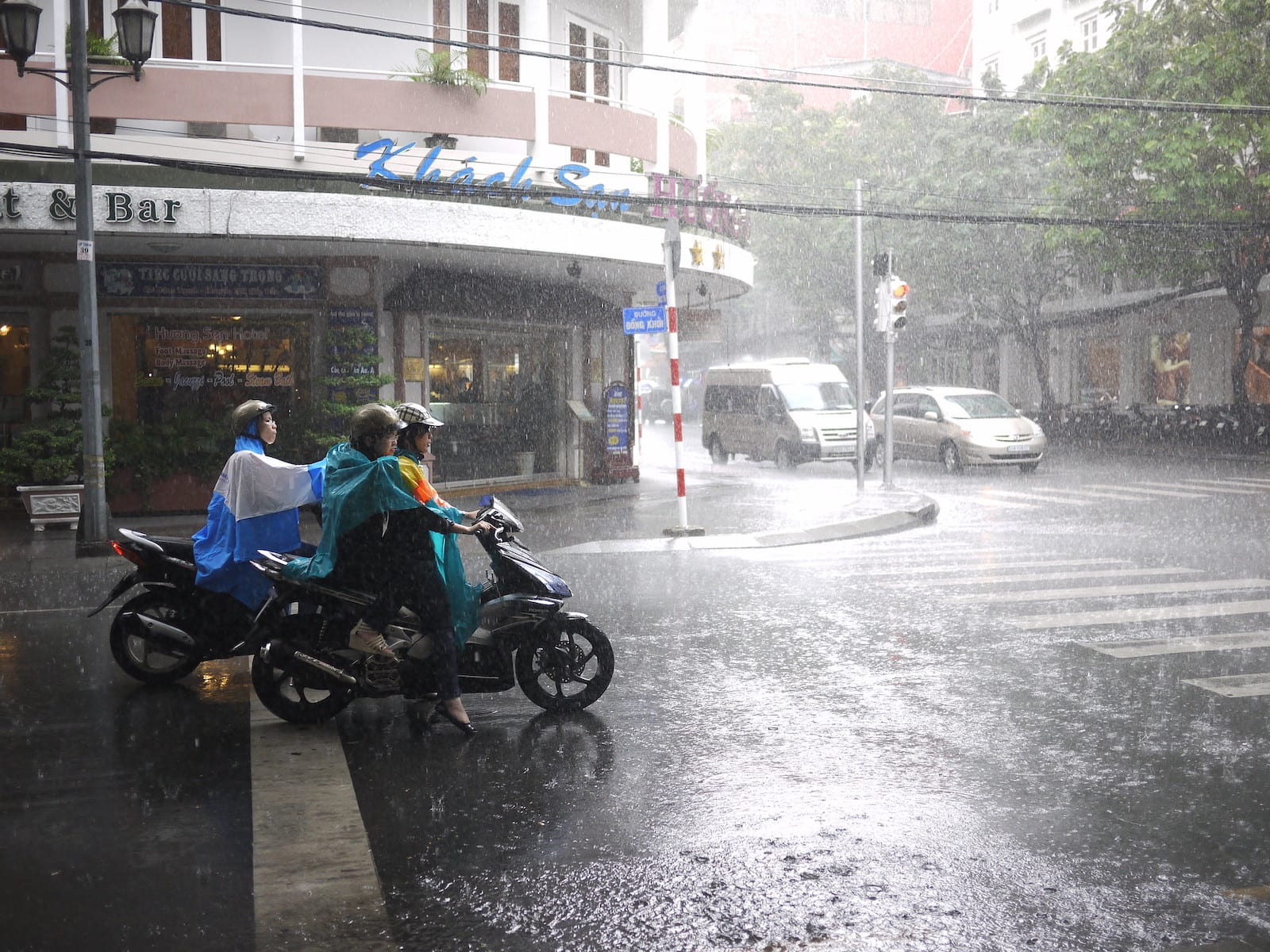 Rainy day Dong Khoi St in Ho Chi Minh City in August