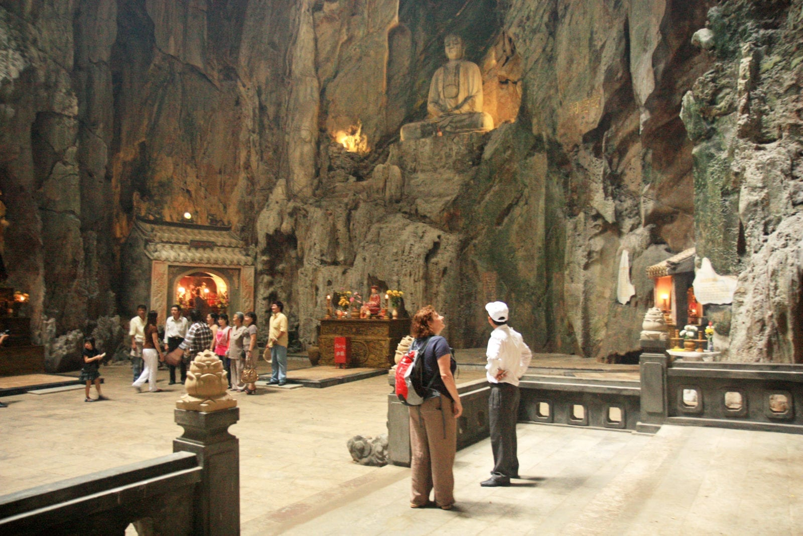 Tourists visit the Marble Mountains
