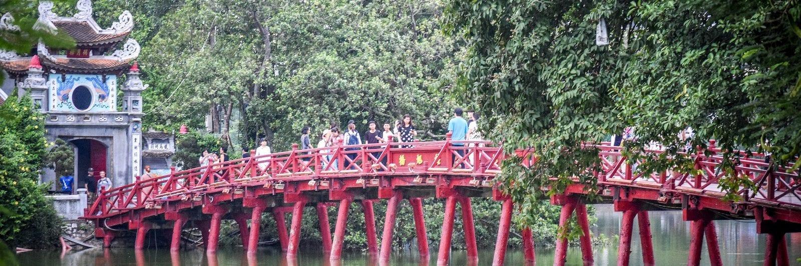 Welcoming morning sunlight Huc Bridge in September -Hanoi