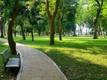 Green Park in Autumn in October, Ha Noi