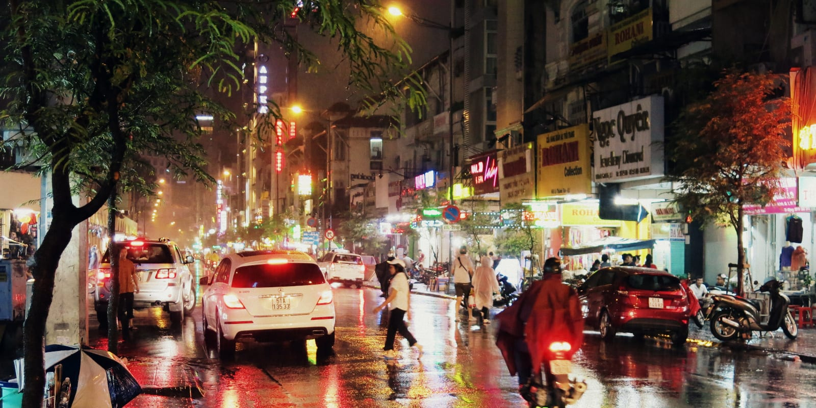 Ho Chi Minh City street raining in December