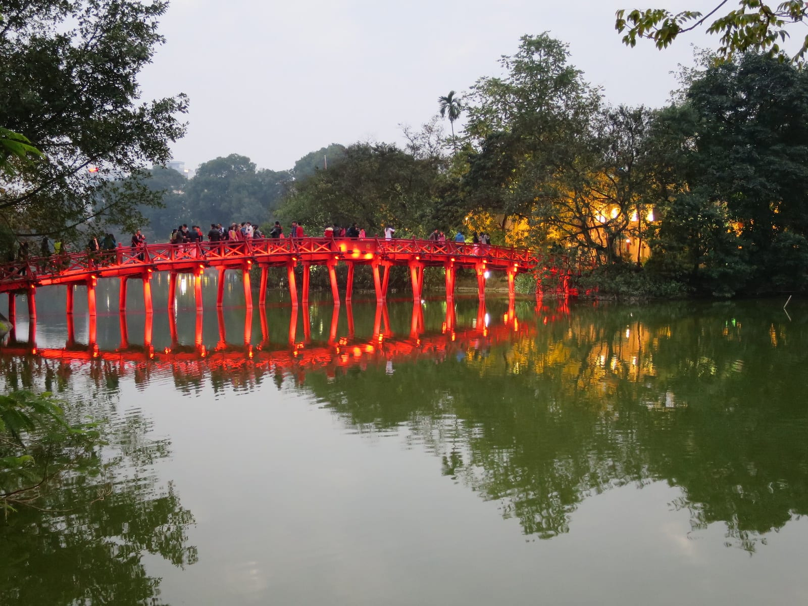 The Huc Bridge in December, Ha Noi