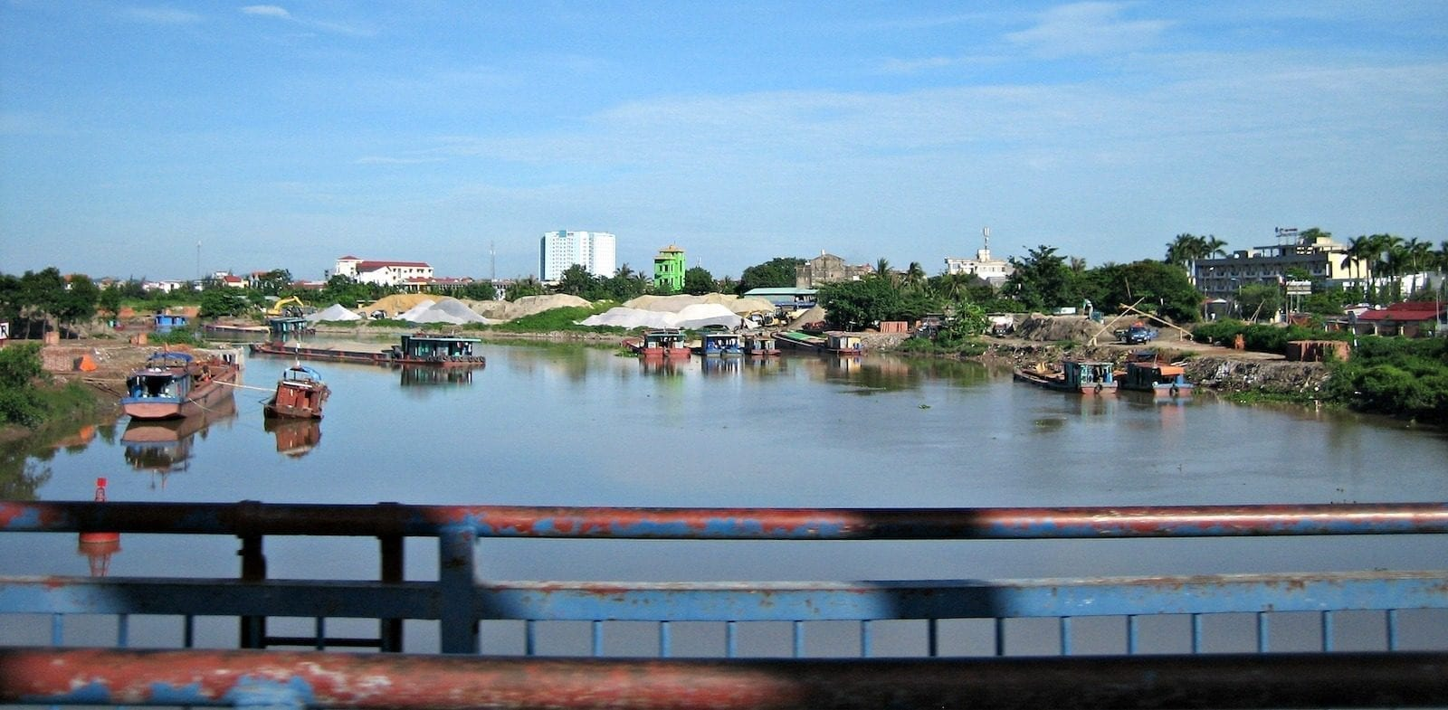 Hai Phong Vietnam Bridge over River Fishing Boats