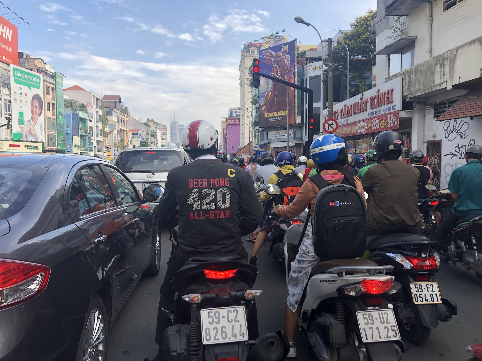 Driving a Motorbike in Saigon Vietnam