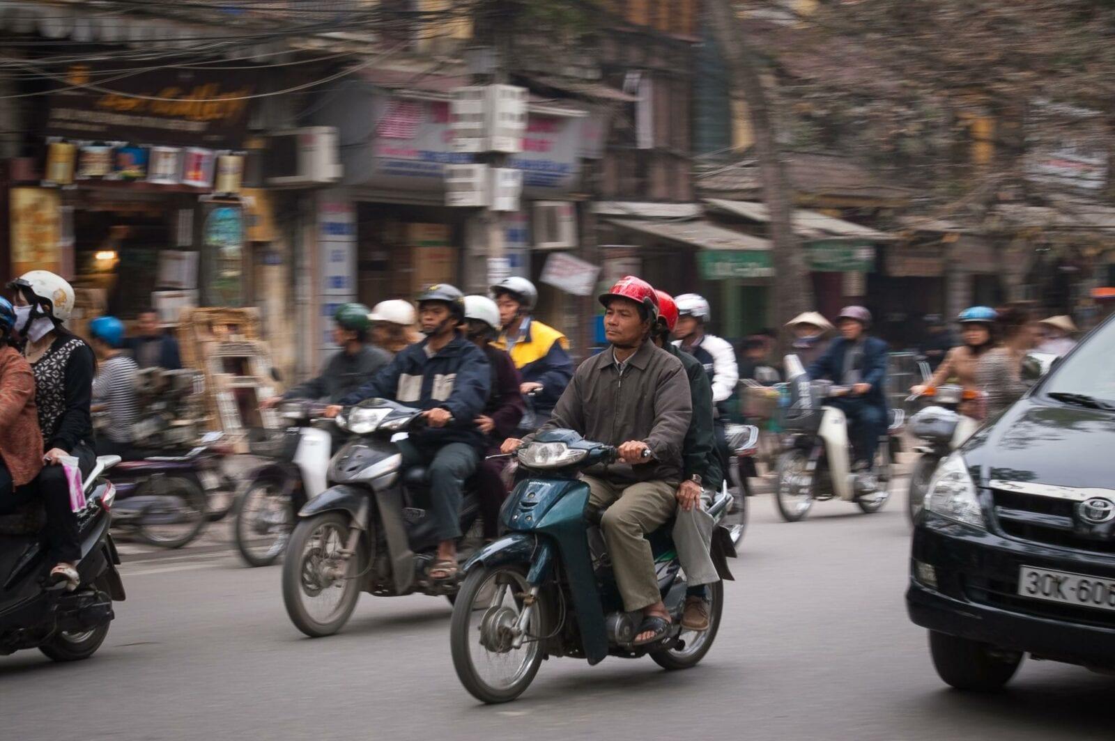 Image of the motorbike and car traffic in Hanoi, Vietnam