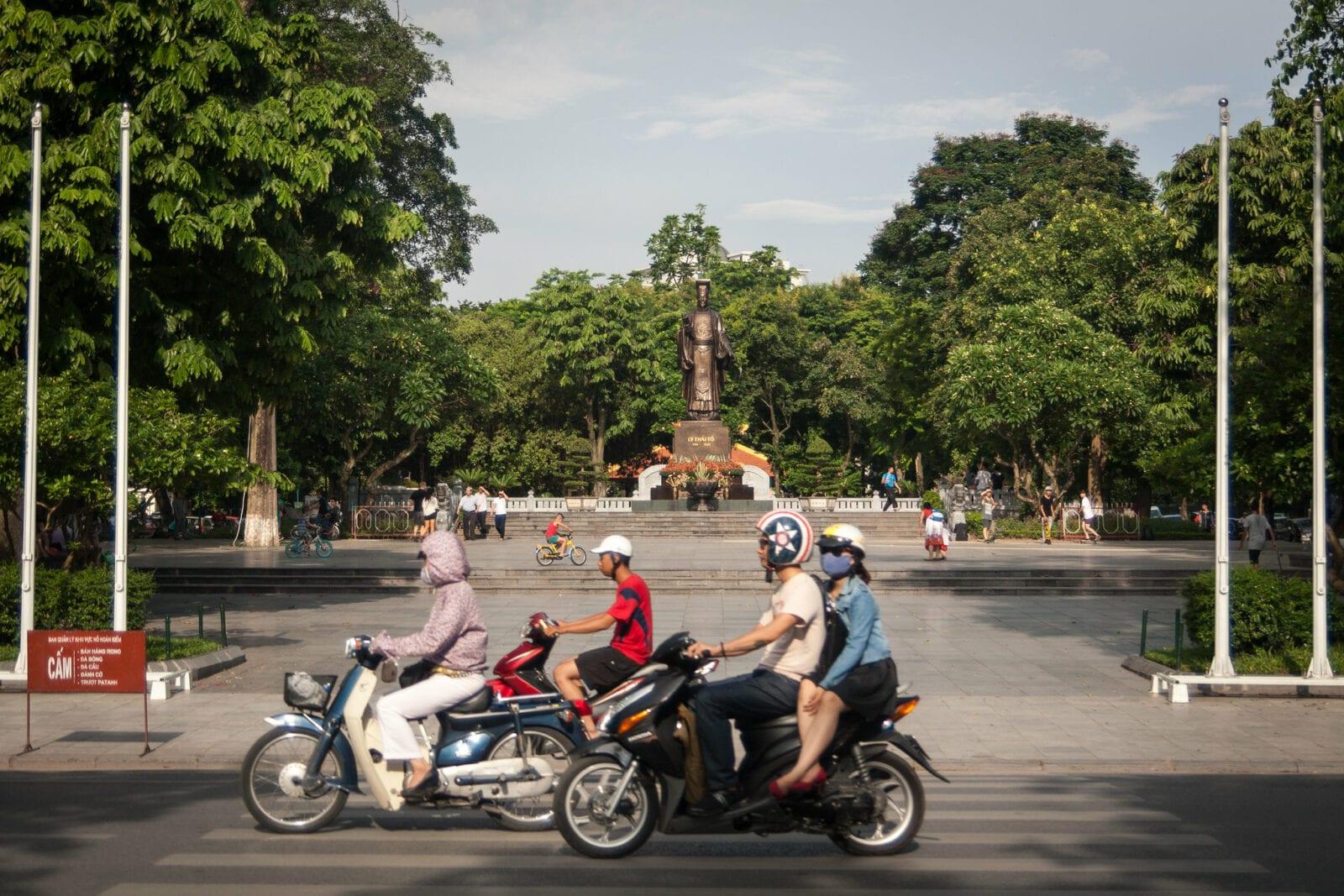 Image of motorbike riders in Hanoi