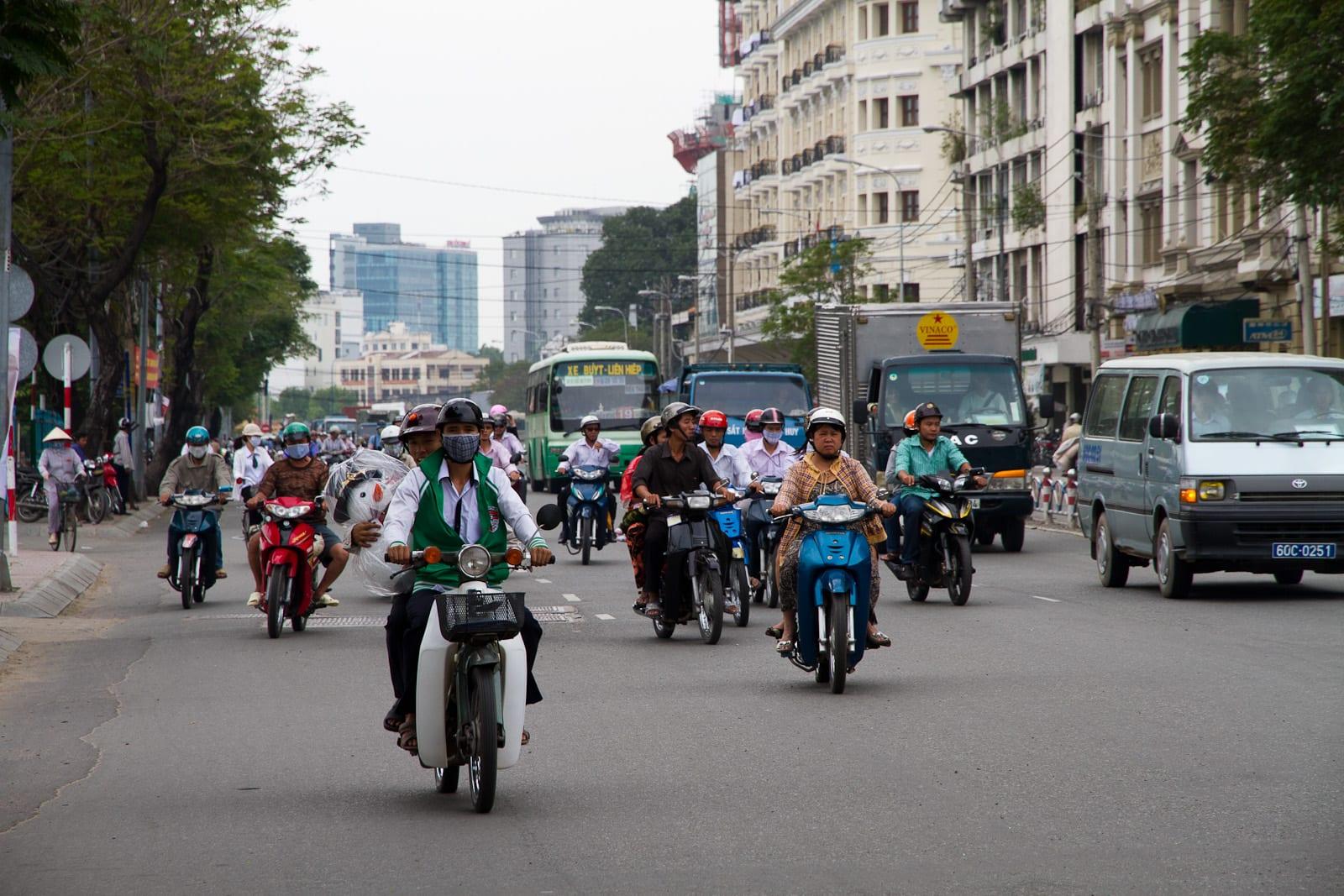 Image of motorbike riders in Vietnam