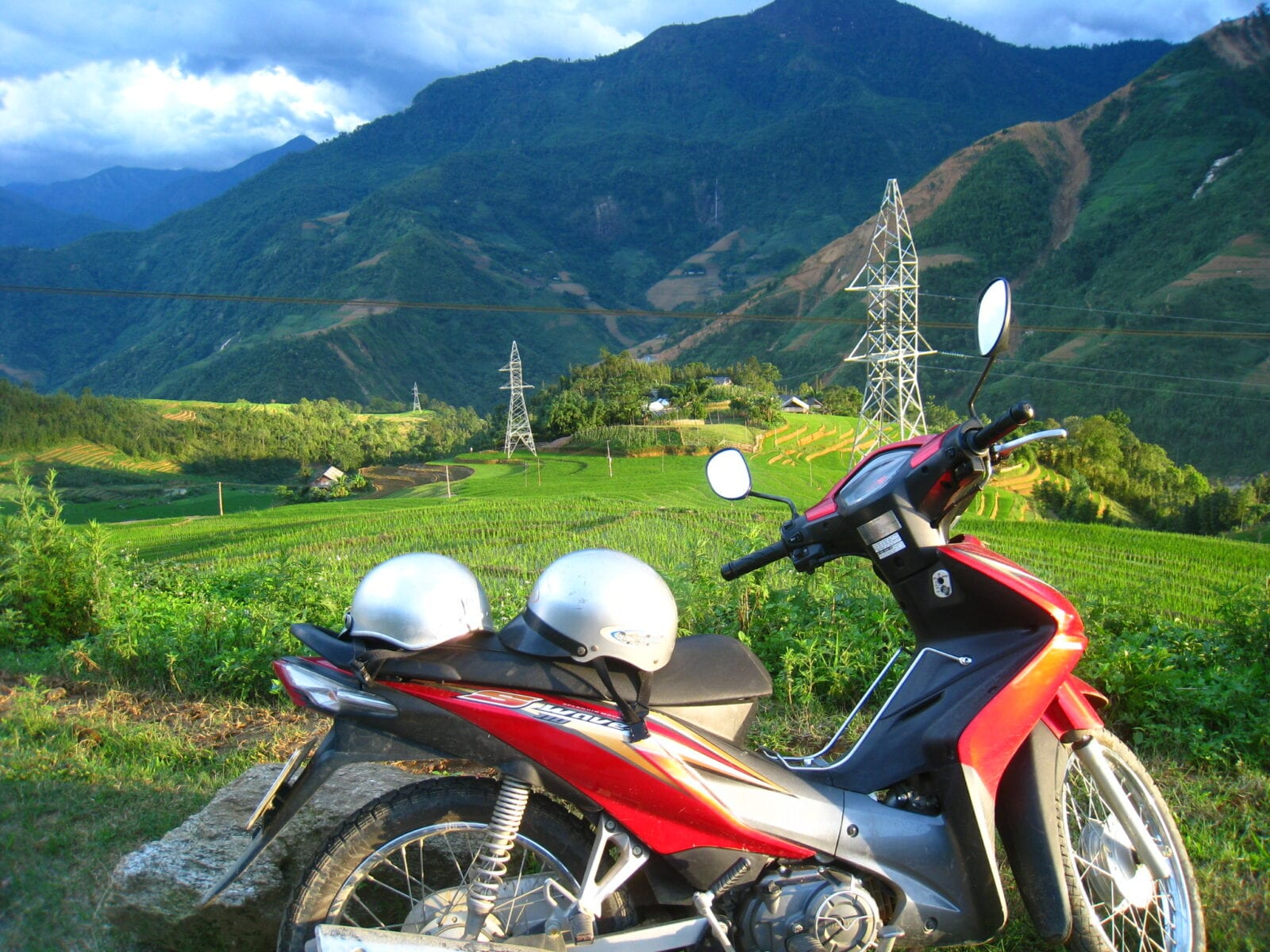 Image of a motorbike in the countryside of Vietnam