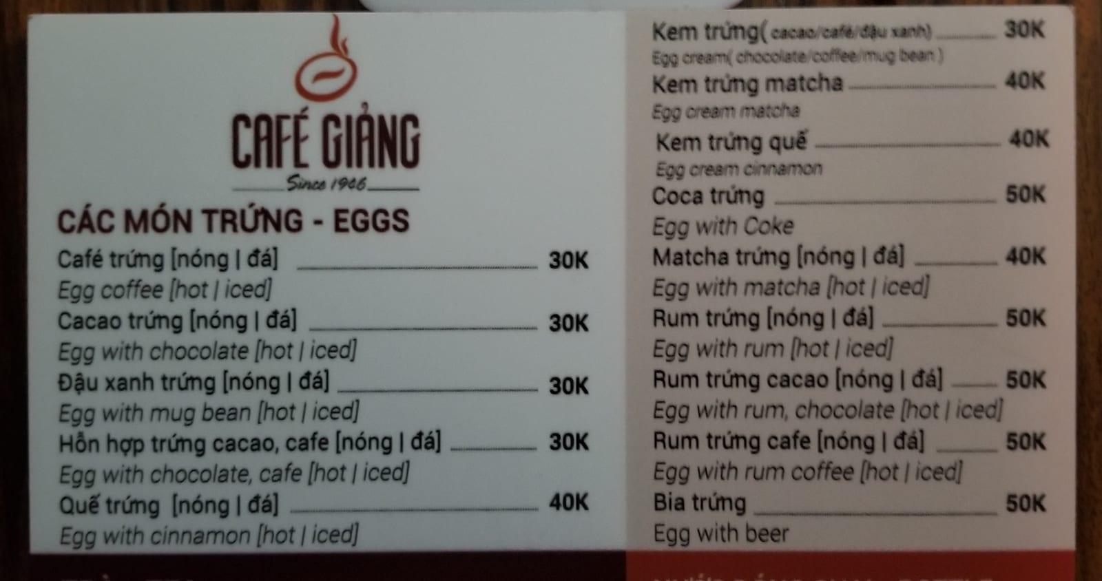 Cafe Giang Menu Hanoi Vietnam