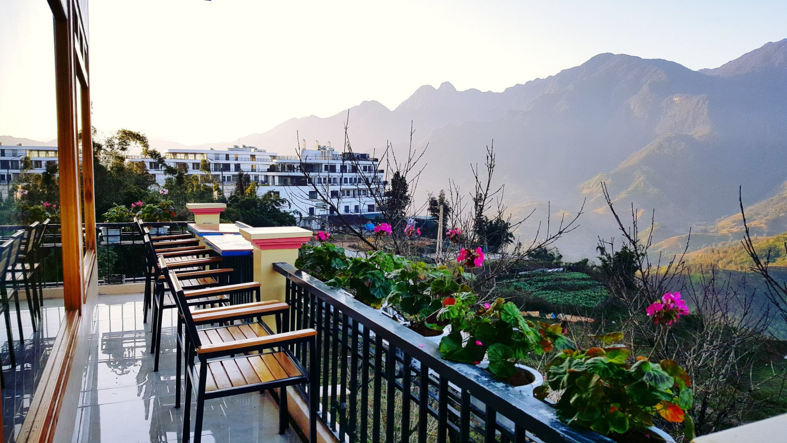 Image of the balcony at the Sapa Odyssey Hostel in Vietnam