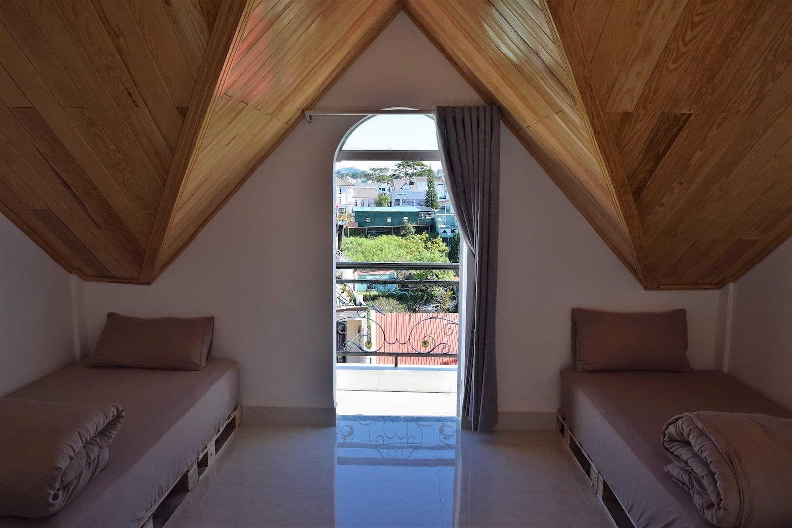 Image of a two bed room at SANY Hostel in Dalat, Vietnam