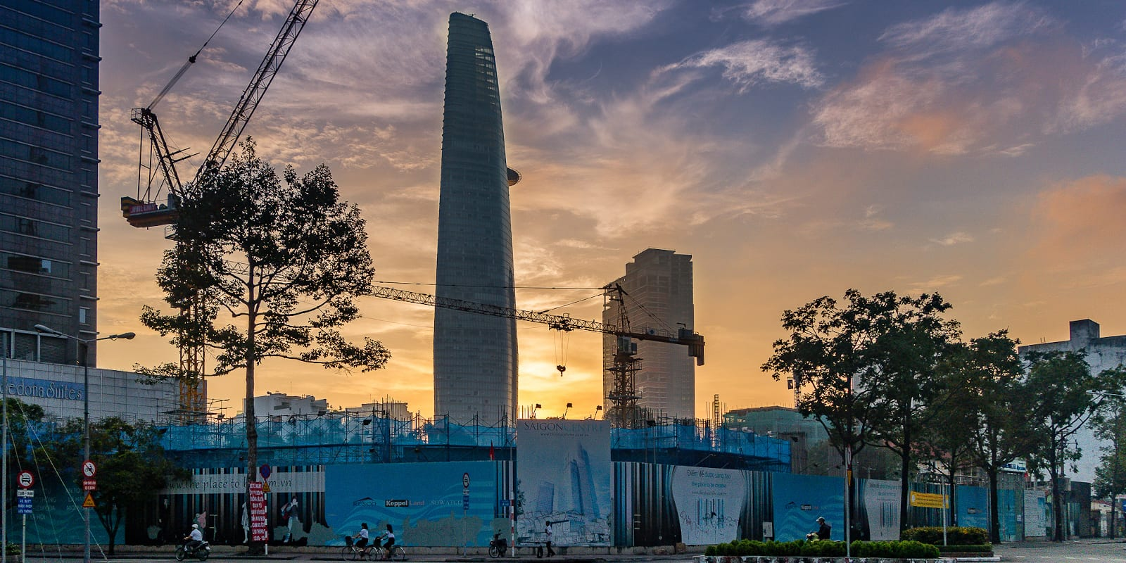 Image of the Bitexco Financial Tower in Ho Chi Minh City during sunrise