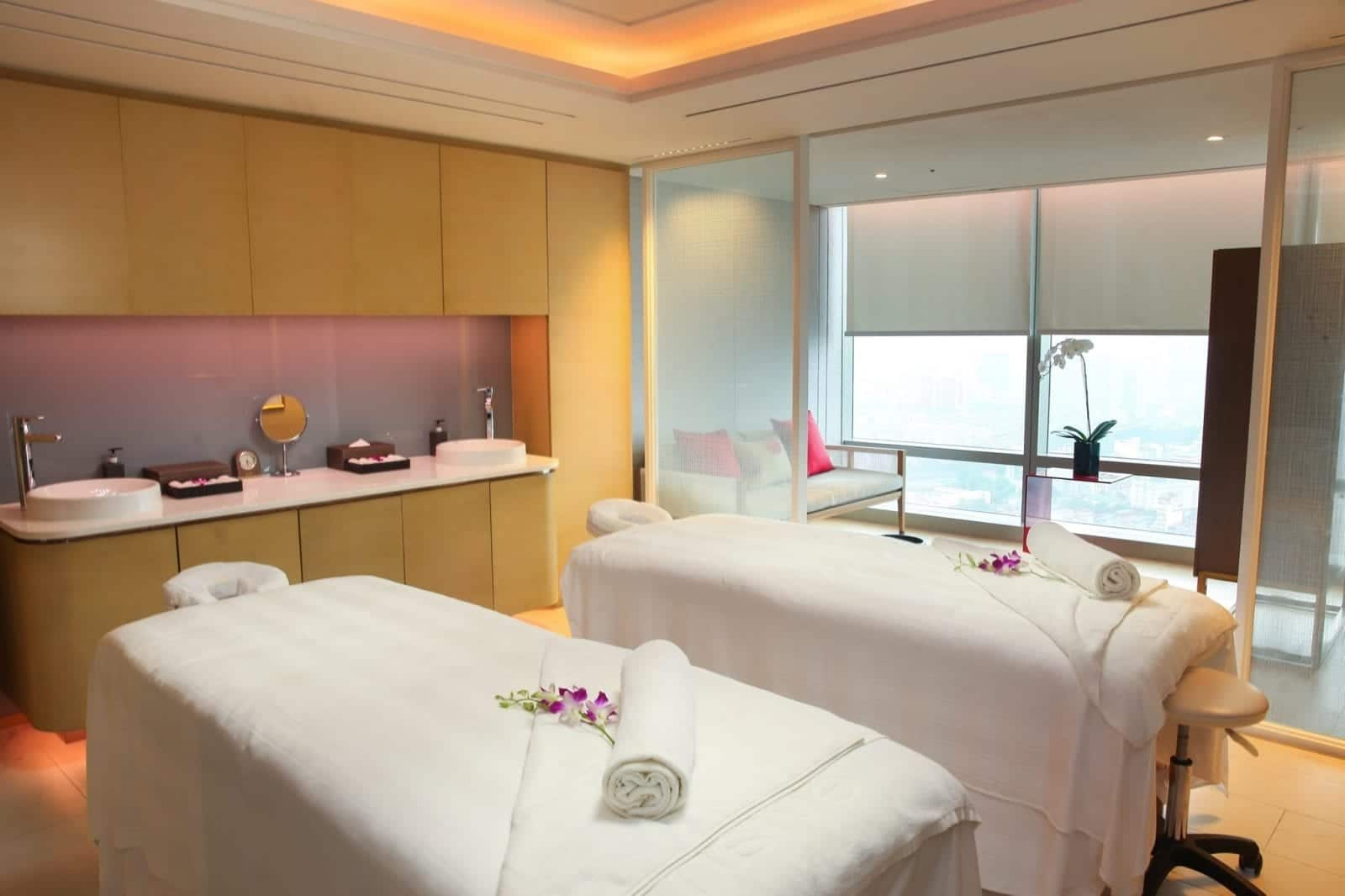 Image of two massage tables in the spa at the Lotte Hotel in Hanoi, Vietnam