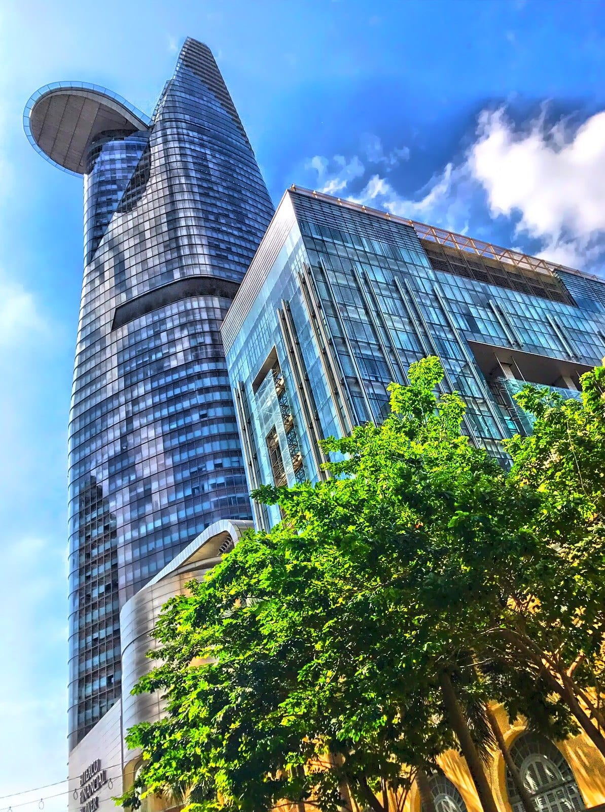 Image of an upwards view of the bitexco financial tower in ho chi minh city in vietnam
