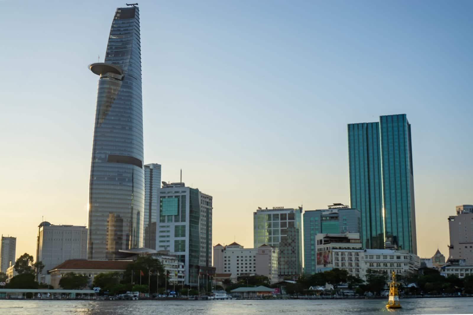Image of the Bitexco Financial Tower in Vietnam on the river