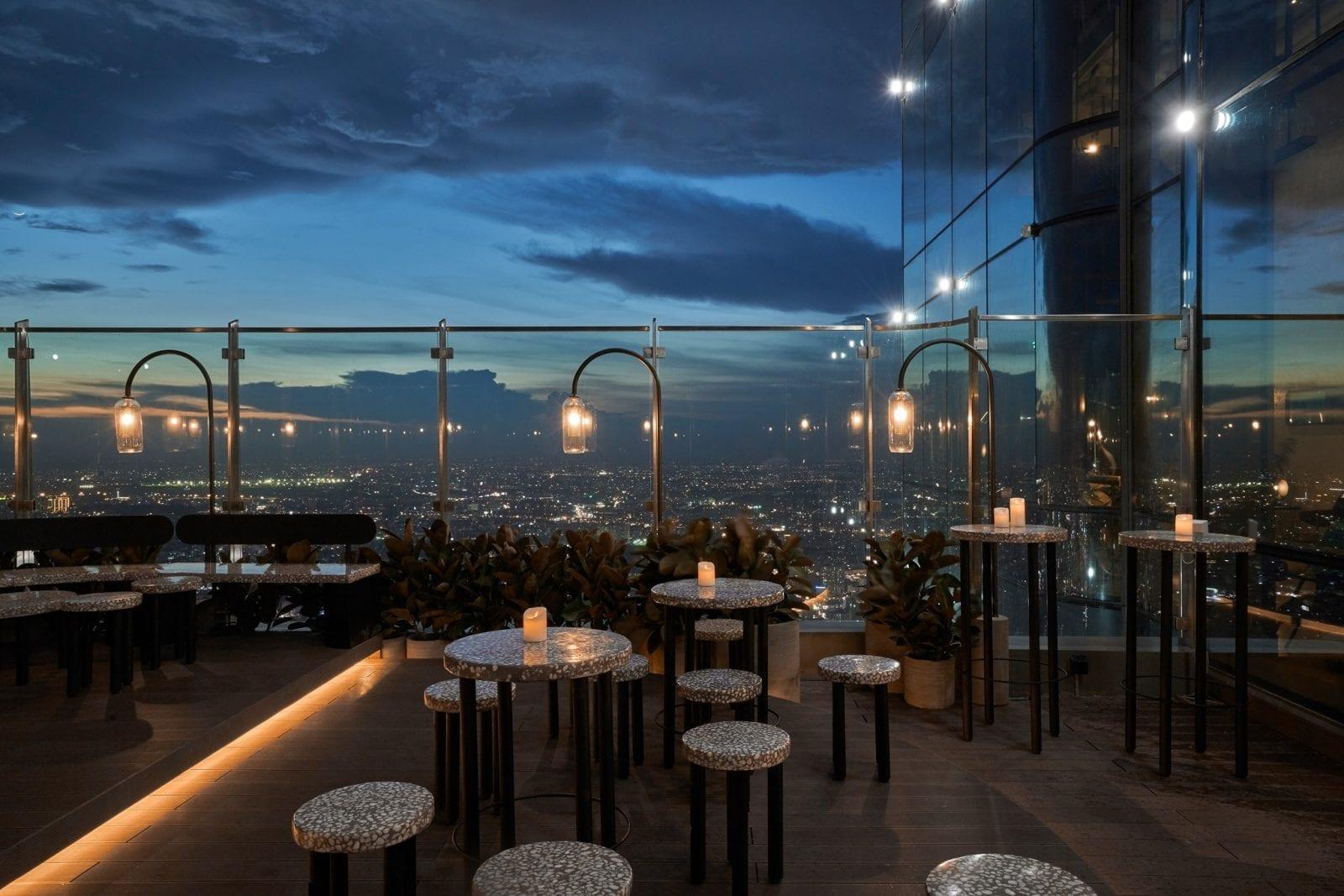 Image of outdoor seating at Blank Lounge in Landmark 81 in Vietnam