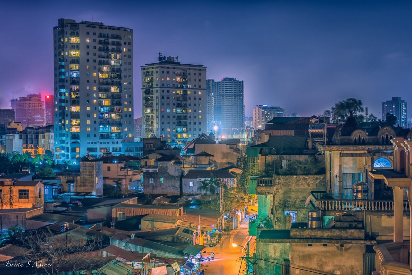 Image of buildings in Hanoi, Vietnam at night