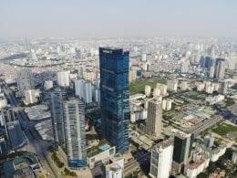 Aerial Image of the Keangnam Landmark 72 Towers in Hanoi, Vietnam