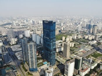 Aerial Image of the Keangnam Landmark 72 Towers in Hanoi, Vietnam