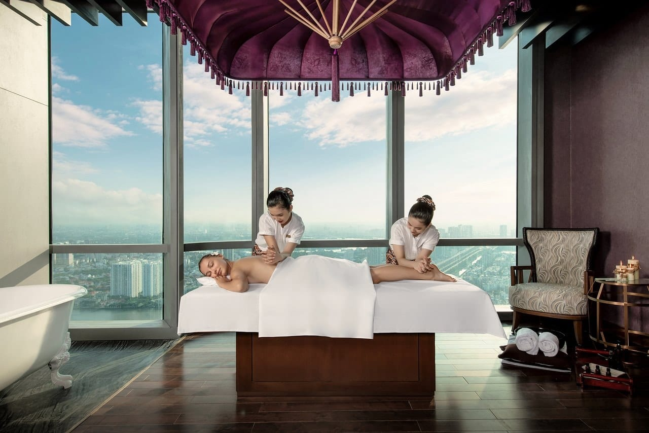 Image of a woman getting a massage at the vinpearl luxury hotel at Landmark 81 in HCMC, Vietnam