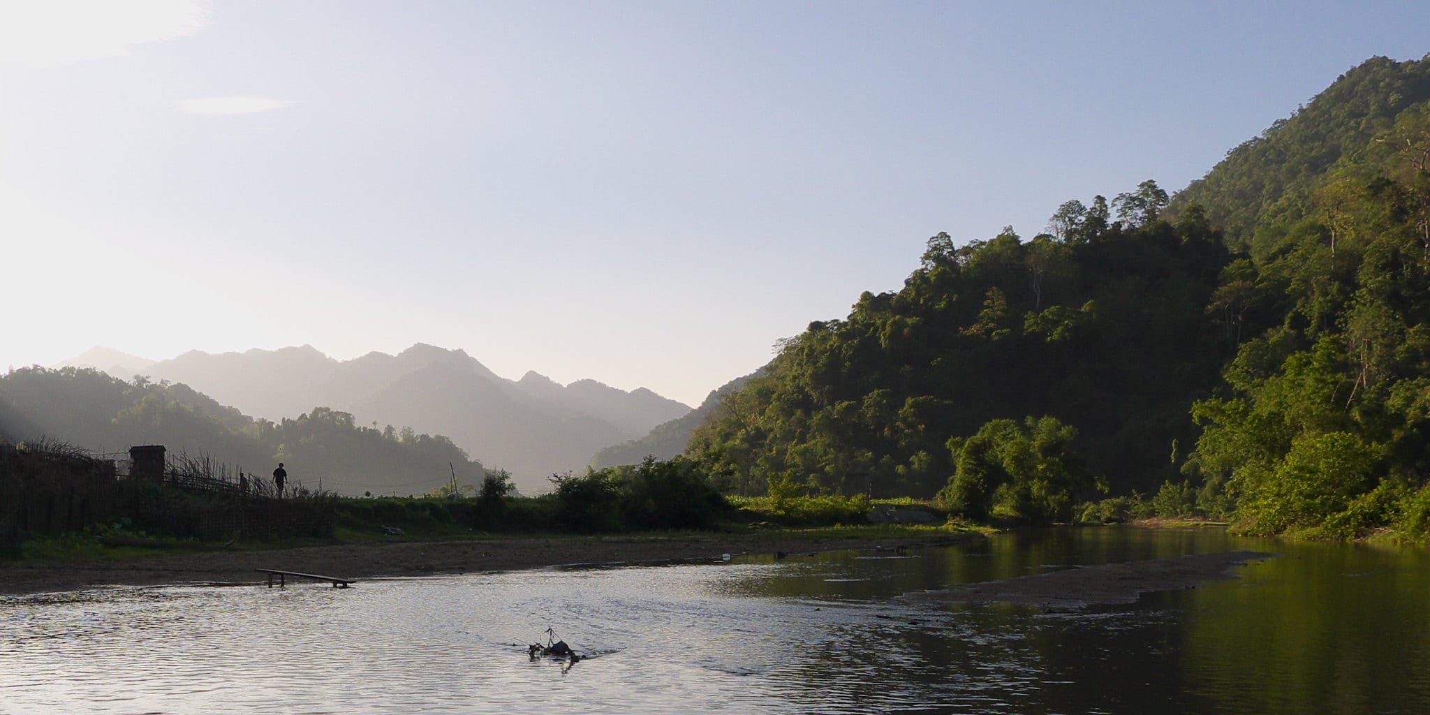 Image of a lake a mountains at Ba Be National Park in Vietnam