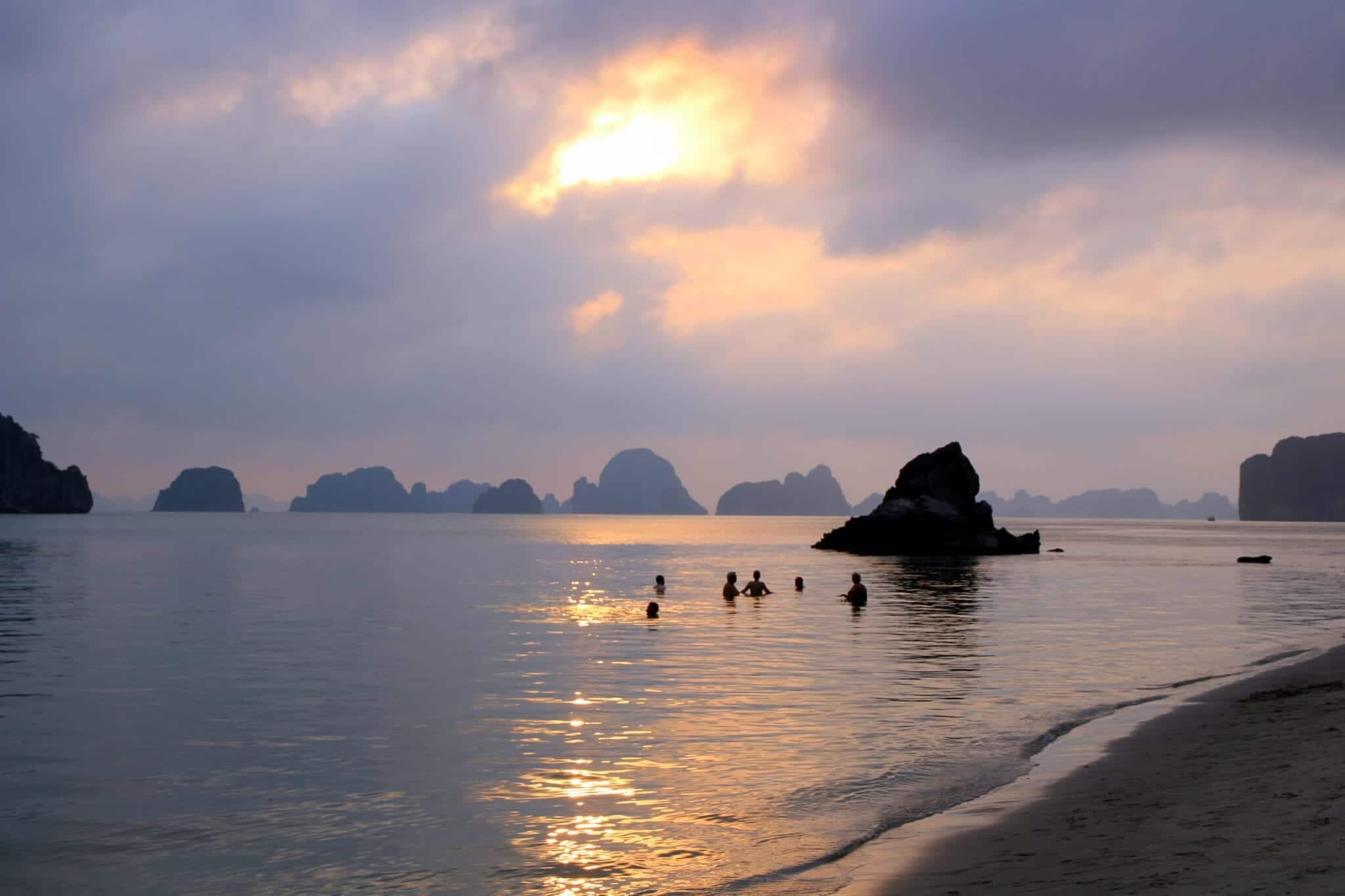 Sunset at Bai Tu Long National Park Vietnam