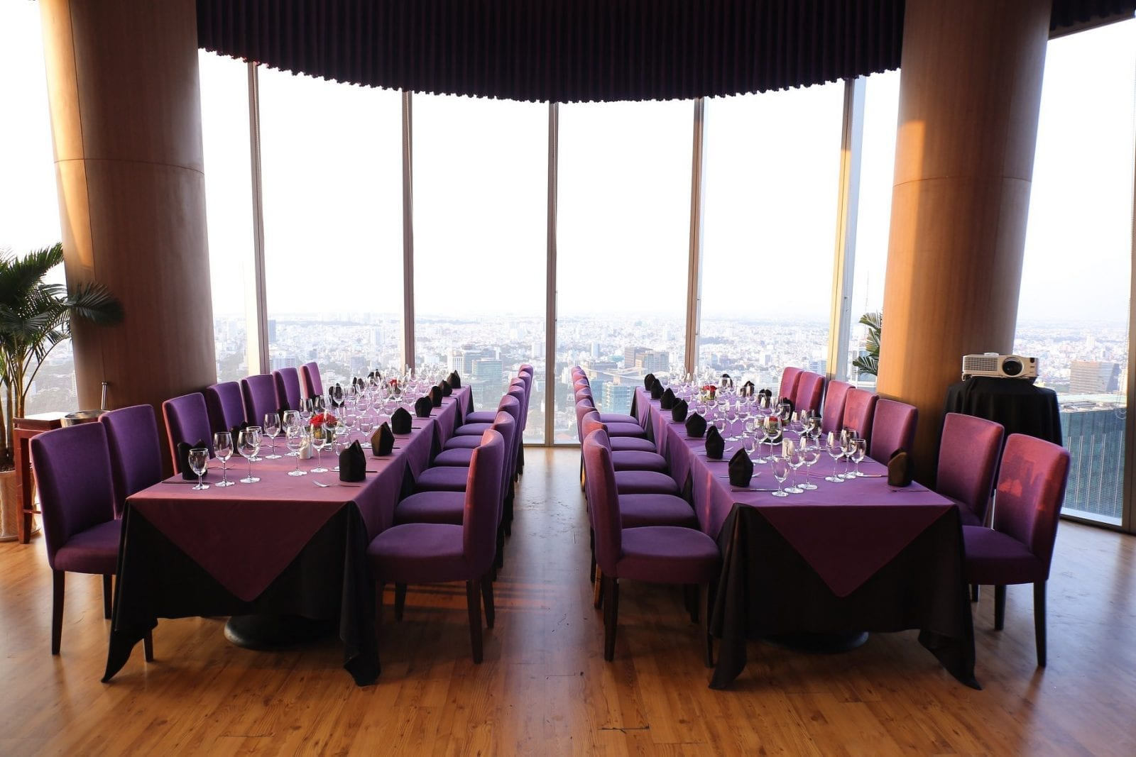 Image of tables set up for a party at Eon51 Restaurant & Lounge in HCMC, Vietnam