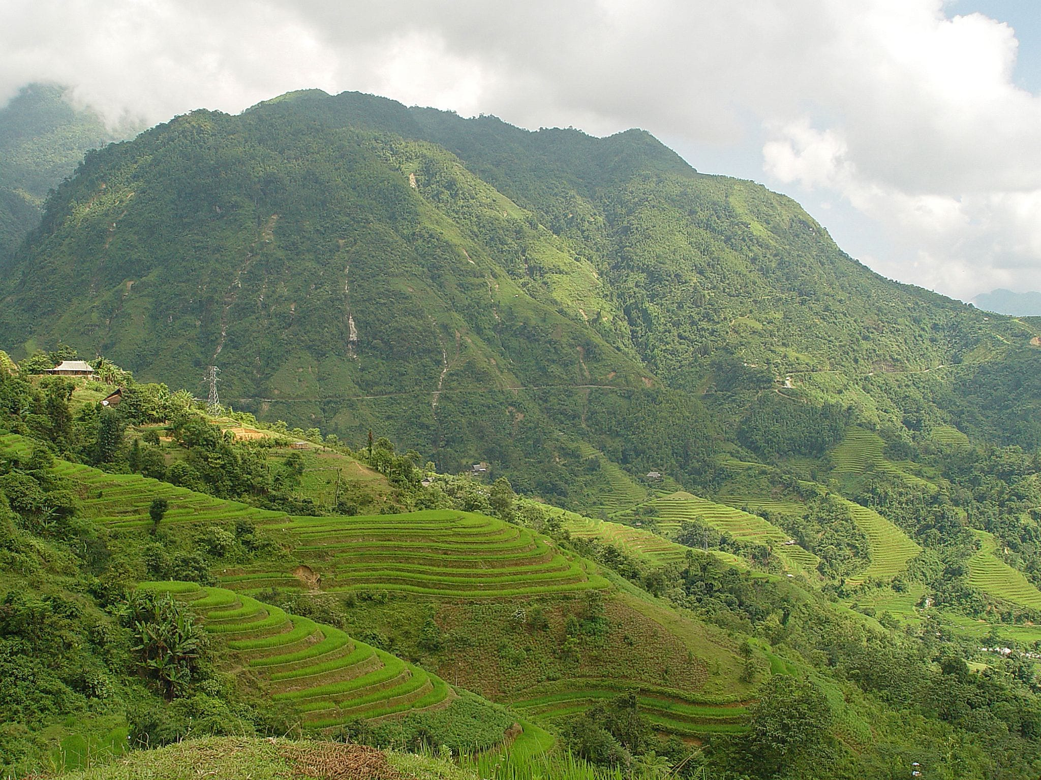 Image of a green valley in the Ha Giang Province in northern Vietnam