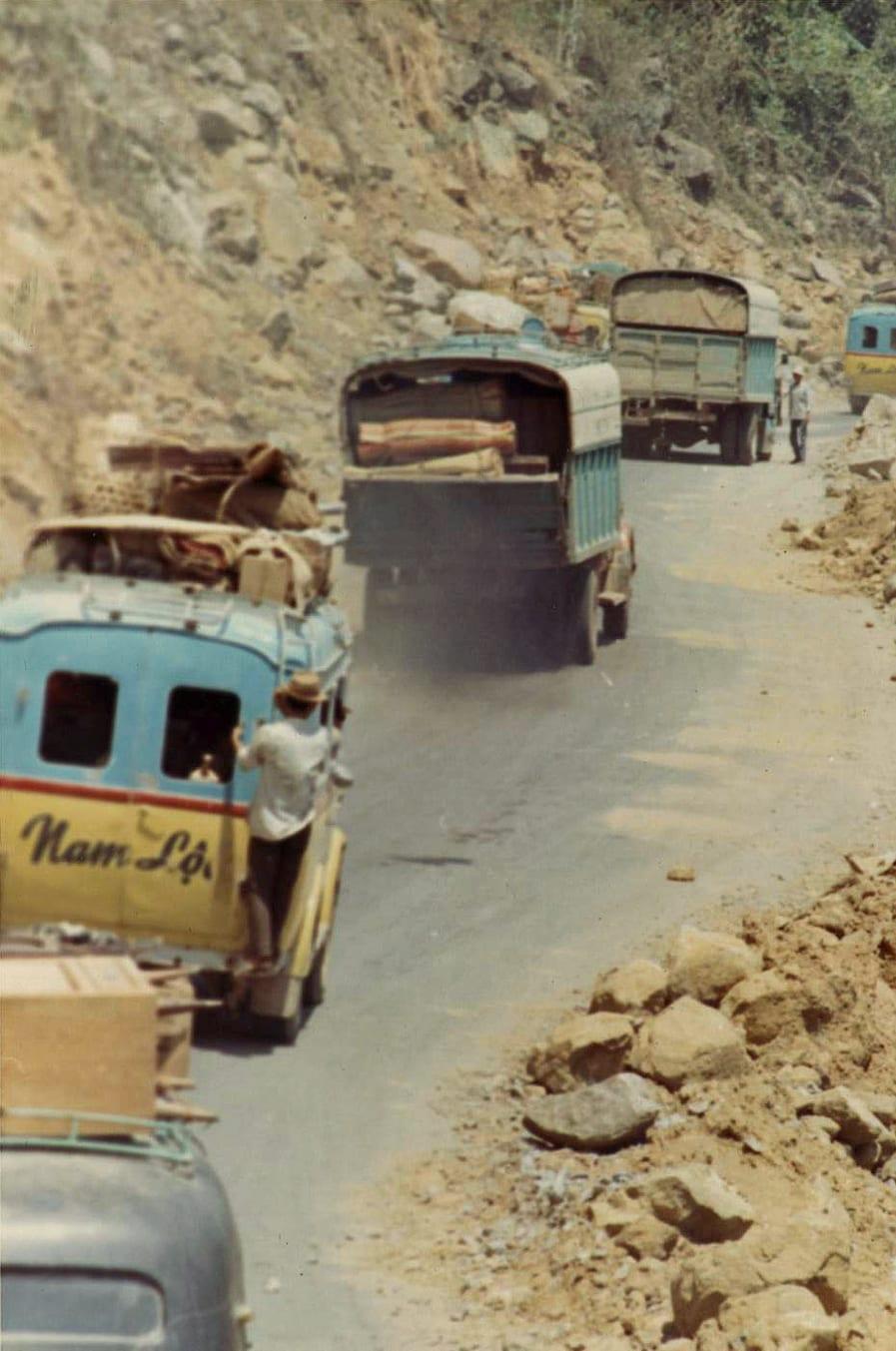 Truck Traffic on Hai Van Pass Vietnam