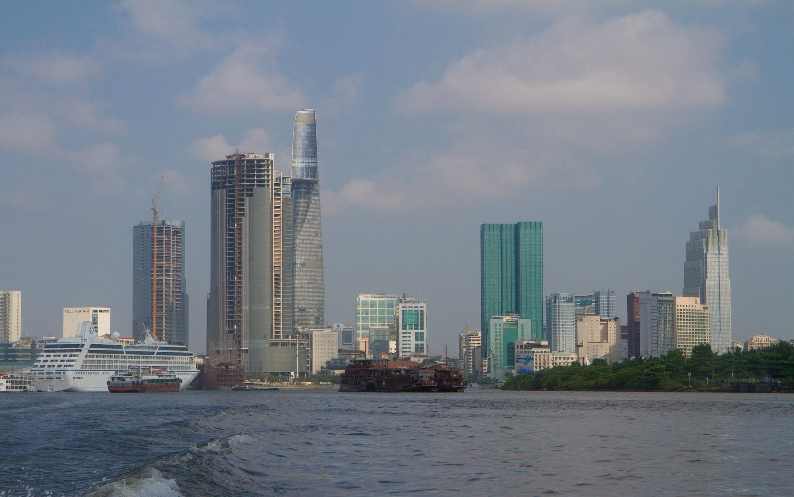 Image of the Ho Chi Minh City skyline with the Saigon One Tower visible