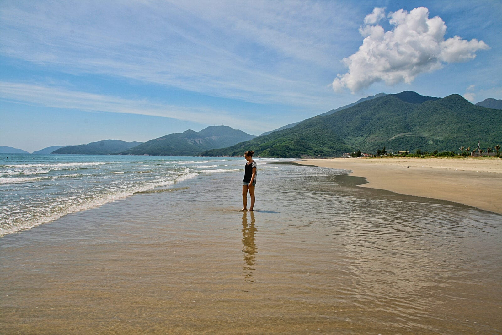 Image of a woman at the Lang Co Beach in Vietnam