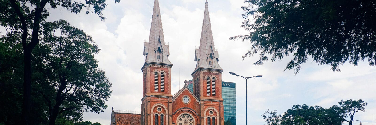 Image of the Notre-Dame Cathedral Basilica of Saigon in Ho Chi Minh City street view