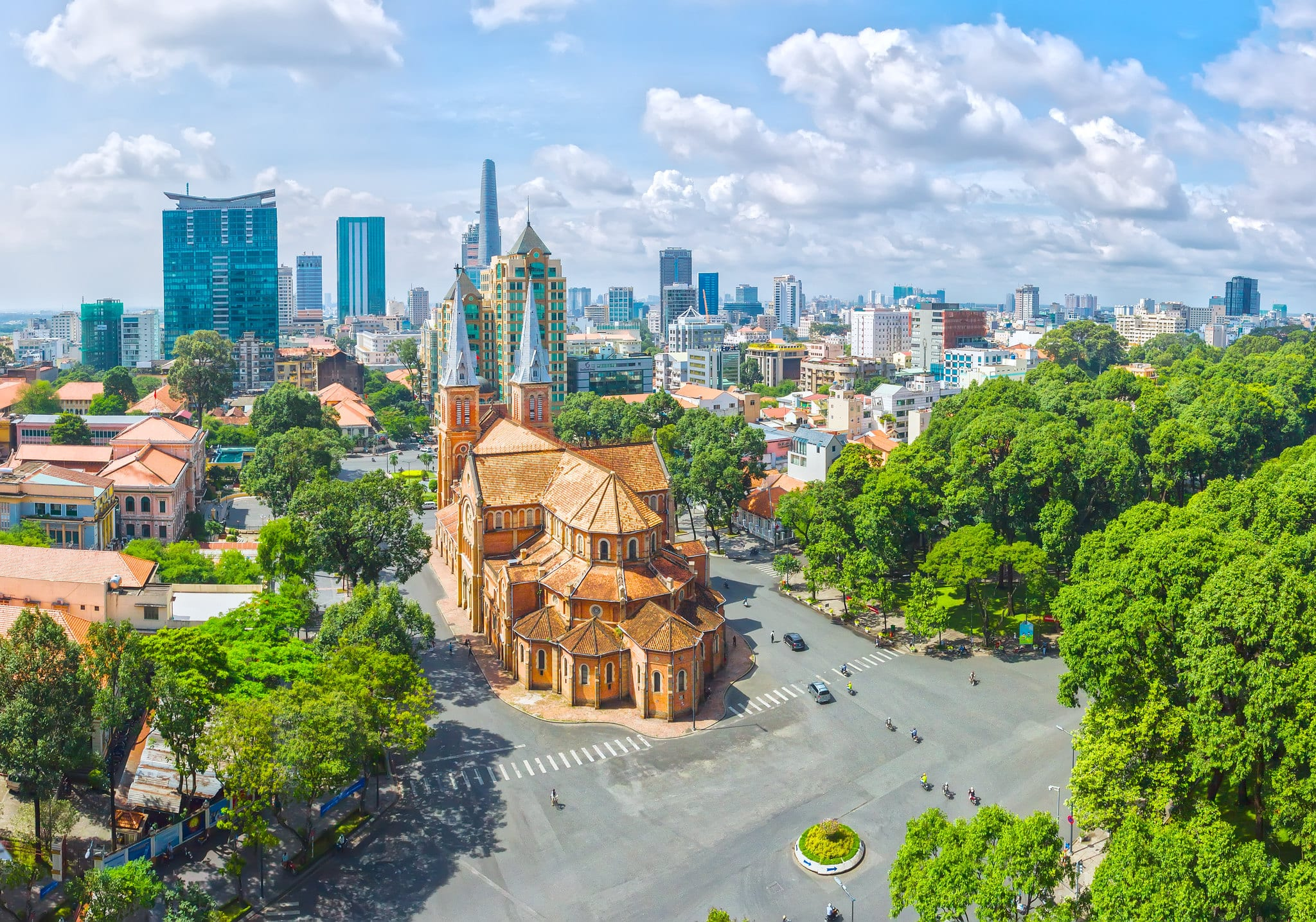 Image of the Notre-Dame Cathedral Basilica of Saigon in Ho Chi Minh City aerial view