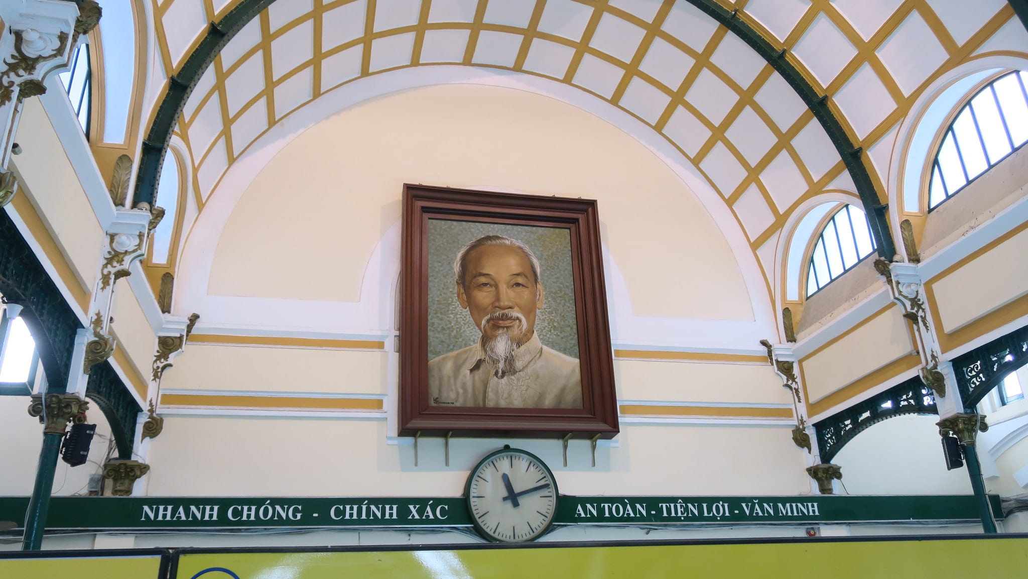 Image of Ho Chi Minh's portrait in the Saigon Central Post Office in Vietnam